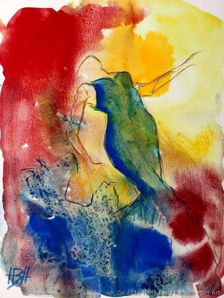 akvarel i stærke farver af flamencodanser i blå kjole