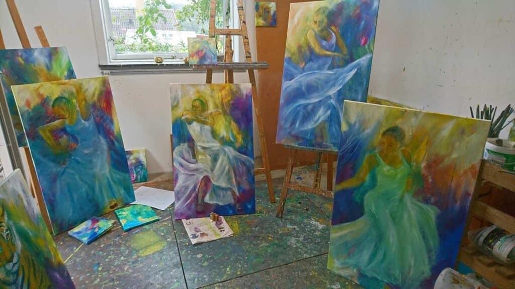kunst atelier med arbejdsrod