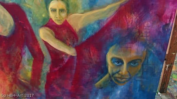Maleri i gang af tre flamencodansere