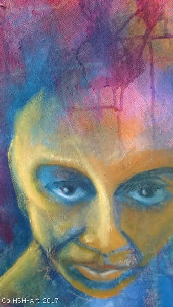 Maleri i gang med focus på flamencodansers øjne