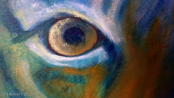 Tigermaleri i gang med focus på øje