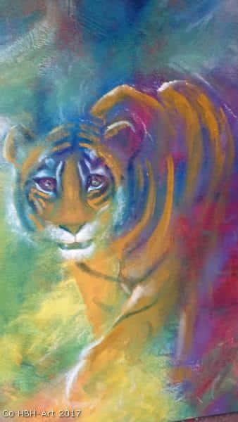 maleri af tiger i gang