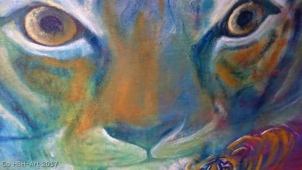 detalje af tigermaleri undervejs. Øjne og snude