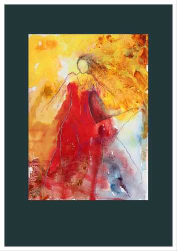 akvarel malet med rene farvepigmenter af flamencodanser i rød kjole sat i en gråblå passepartout