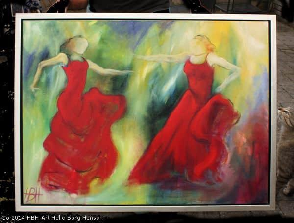 Maleri af to flamencodansere i svæveramme i sølv med sort baggrund