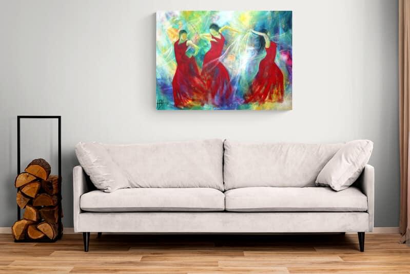 Maleri over sofa uden ramme