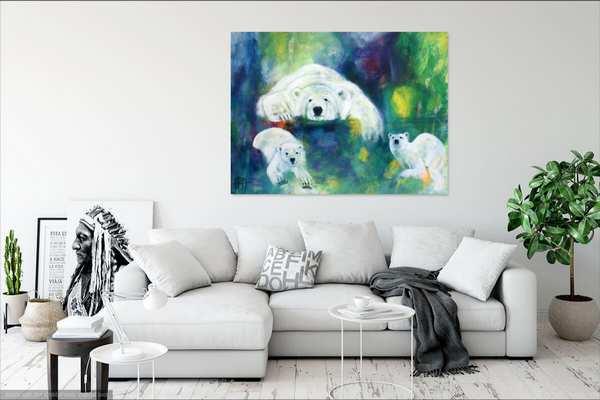 Malerier til stuen - Farverigt maleri over hvid sofa
