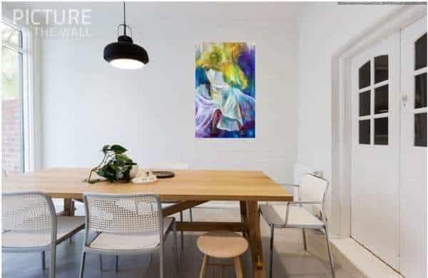 Maleri i hjemmet over bordet