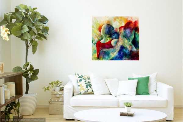 Maleri på væggen over sofaen i stuen