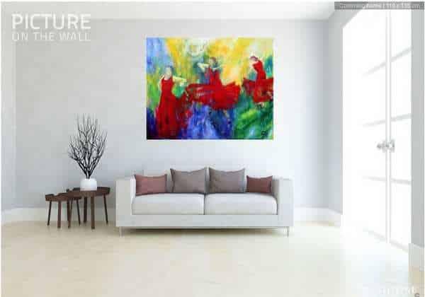 Malerier til stuen - Stort maleri på væggen over sofaen