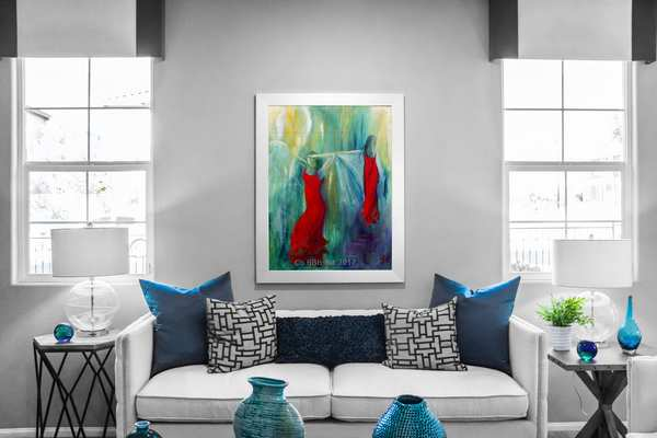 Malerier til stuen - Dansemaleri i ramme over sofaen