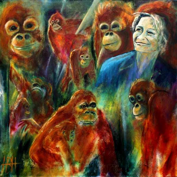 Dyremalerier Maleri af Lone Drøscher og orangutangerne