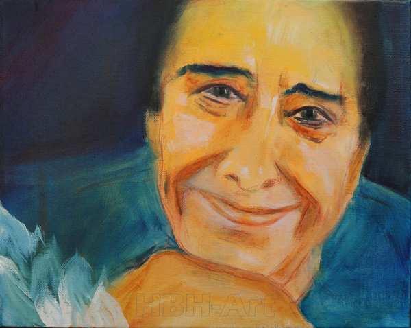 Portræt Bodil Udsen malet i olie på lærred