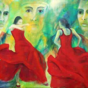 Maleri af flamencodansere og kvindeansigter