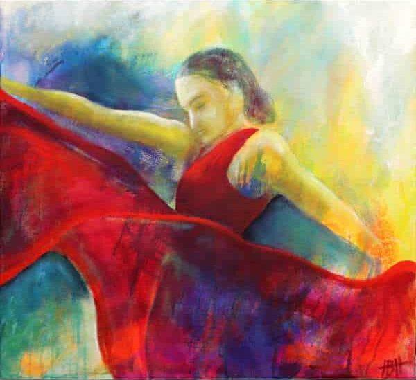 maleri af flamencodanser i røde farver