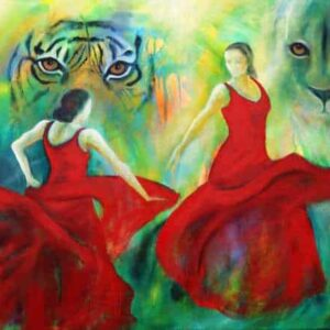 Maleri af dansende flamenckvinder og rovdyr