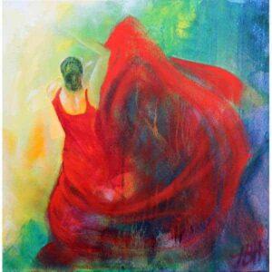 Maleri af danser i rød kjole. Danseren svinger med skørtet som en blomst