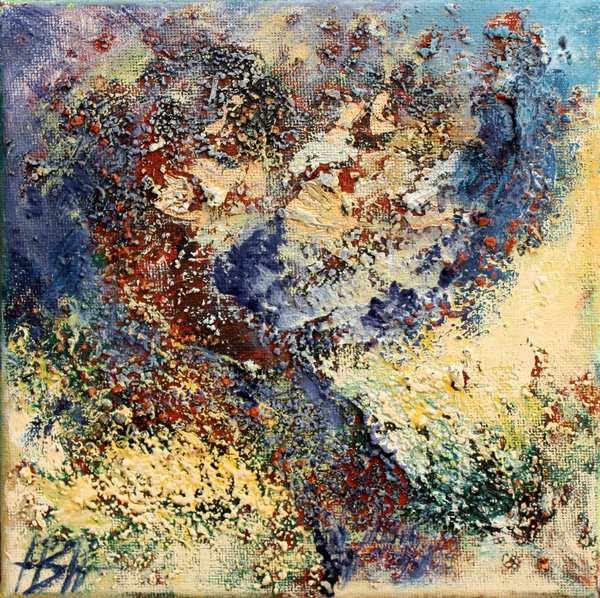 Farverigt maleri af træ. Malet på en halvabstrakt måde med masser af struktur og stoflighed