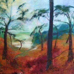 landskabs maleri af Skuldelev Ås i varme olie-farver. Det er udsigten fra toppen af åsen