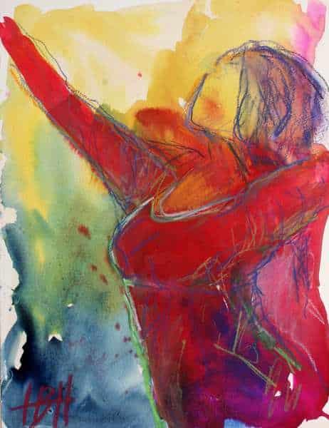 Akvarel på papir i blå og røde farver. Flamencodanser, der strækker armene i vejret