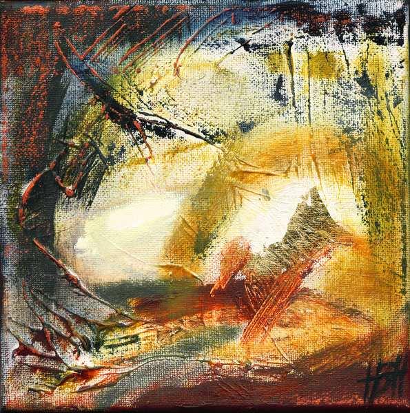 lille abstrakt maleri i varme farver med lys og mørke