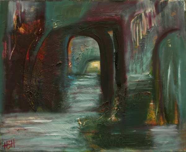 Abstrakt maleri der er blevet til en grotte med vand Der er mørkt i grotten, men lyset skinne igennem fra den anden side