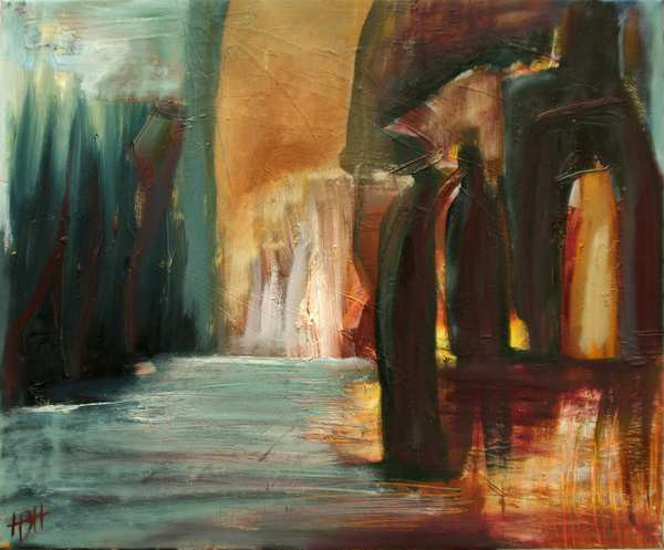 Abstrakt maleri i varme og kolde farver. Der er vand og grotter og to mennesker