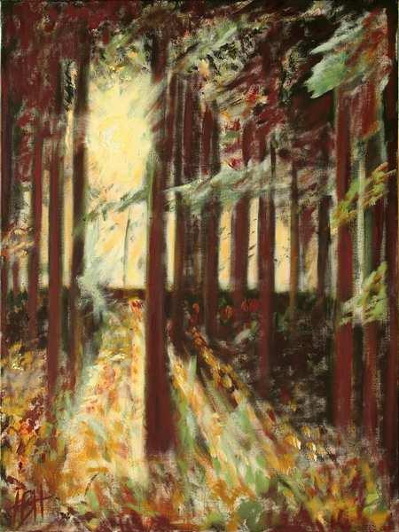 Maleriet af lyset gennem granskovens rødbrune stammer