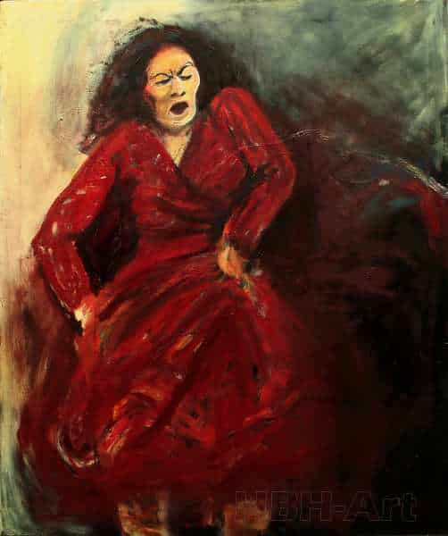 Maleri af flamencodanser med stor udstråling. Flamencodanser i moden alder og et barsk udtryk. Hun danser i en rød kjole