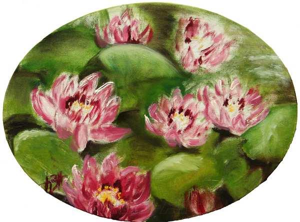 Ovalt maleri af røde nøkkeroser - åkander på vandet