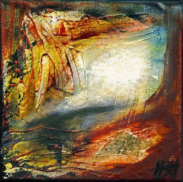 Lille abstrakt landskabs maleri i varme farver og med bladguld