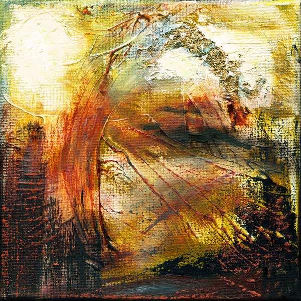 Lille abstrakt maleri bygget op omkring et lag bladguld i bunden og varme farver oven på