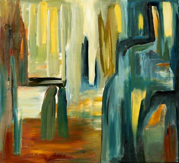 Maleri hvor farver og former danner bygninger og grotter. Her mødes to formummede mennesker