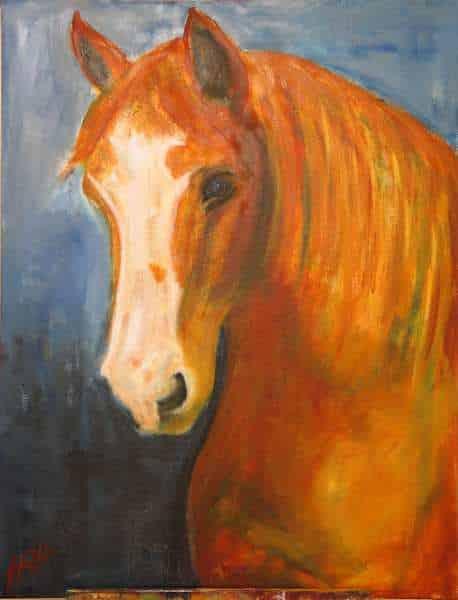 Hesteportræt af frederiksborgerhesten Rubin malet i gyldne farver på blå baggrund