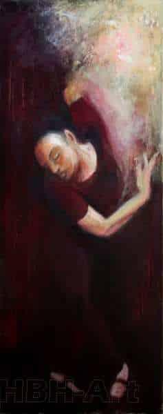Første maleri i en serie på fire oliemalerier. De danner tilsammen en bevægelse i dansen fra højre til venstre. En bevægelse opad. Claire obscure maleri med stor kontrast mellem lys og mørke