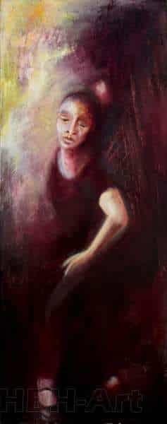 Andet maleri i en serie på fire oliemalerier. De danner tilsammen en bevægelse i dansen fra højre til venstre. En bevægelse opad. Claire obscure maleri med stor kontrast mellem lys og mørke