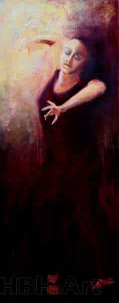 Tredie maleri i en serie på fire oliemalerier. De danner tilsammen en bevægelse i dansen fra højre til venstre. En bevægelse opad. Claire obscure maleri med stor kontrast mellem lys og mørke