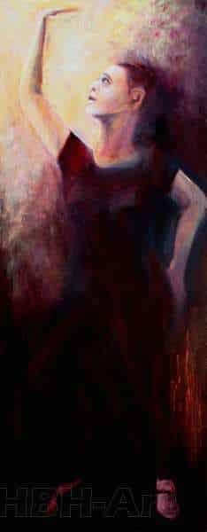 Fjerde maleri i en serie på fire oliemalerier. De danner tilsammen en bevægelse i dansen fra højre til venstre. En bevægelse opad. Claire obscure maleri med stor kontrast mellem lys og mørke
