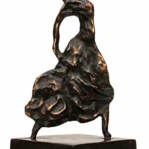 Bronze skulptur af flamencokvinde på bronzesokkel