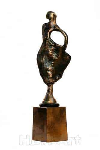 Vinprop i bronze af flamencodanser. Modelleret af Helle Borg Hansen