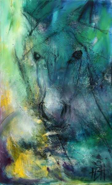 Abstrakt maleri af hest i blå og grønne farver. Smalt højformat