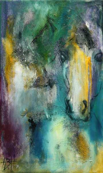 Abstrakt maleri af hest i blåt grønt gult og violet