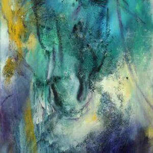abstrakt maleri af hest i blå farver