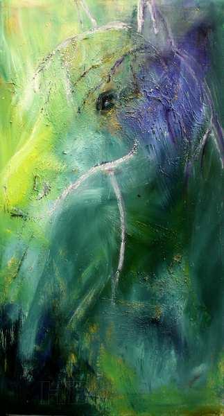 Abstrakt hestemaleri i grønne farver. Smalt højformat