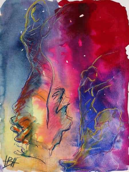 Akvarelmaleri i blå og røde farver. To flamencodansere er tegnet op på baggrunden