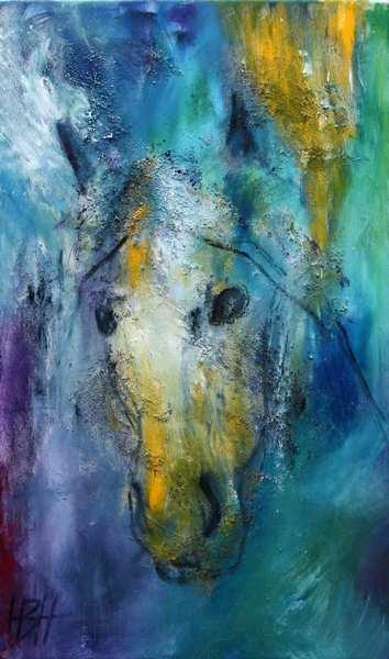 Abstrakt maleri af hesthoved i blåt og lidt gult