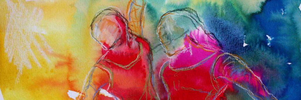 Akvarel malet med kraftige farver