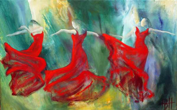 dansemaleri af flamencodansere på blå-grøn baggrund