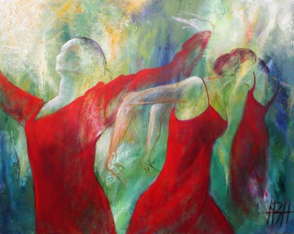 stort maleri af røde dansende kvinder
