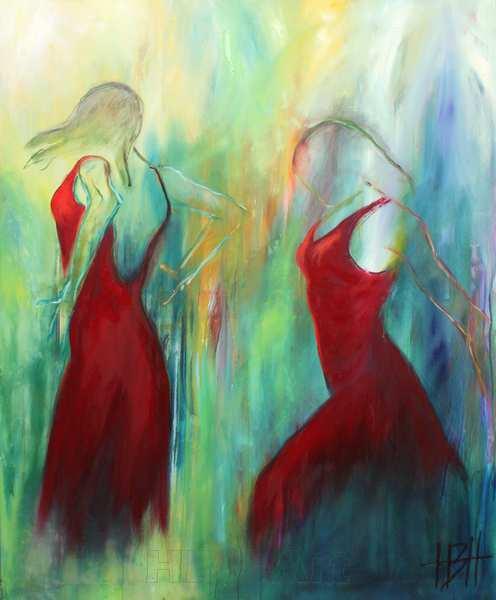 maleri af røde damer, der danser flamenco